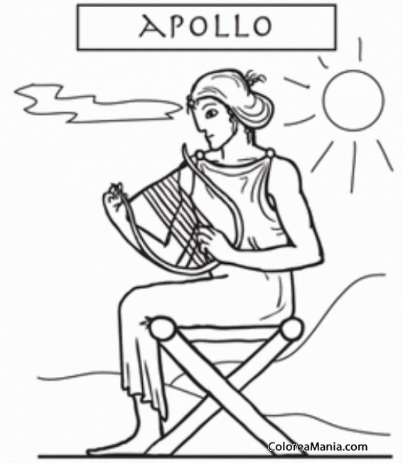 Colorear Apolo sentado con una arpa (Mitología Griega), dibujo para ...