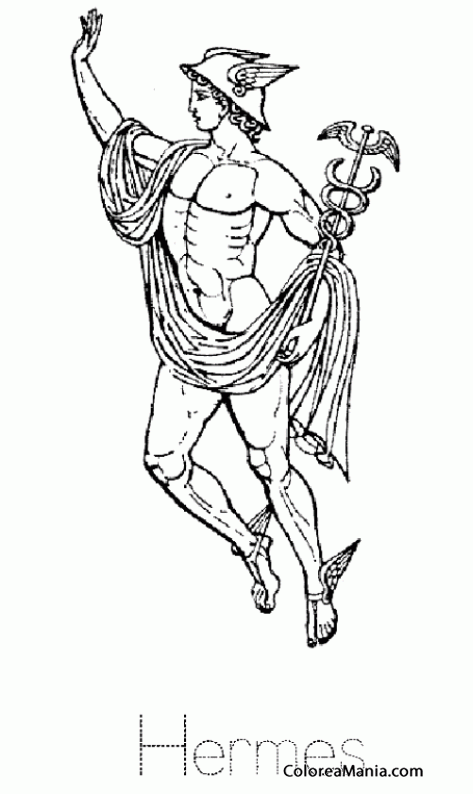 Colorear Hermes (Mercurio para los romanos) 4 (Mitología Griega ...
