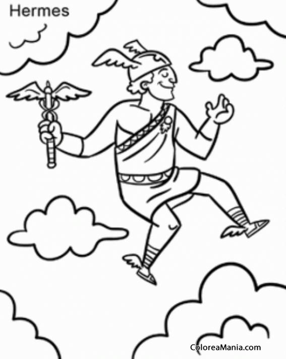 Colorear Hermes (Mercurio para los romanos) 5 (Mitología Griega ...