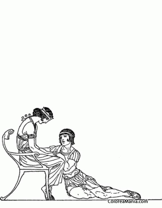 Colorear Jasón E Hispipila Mitología Griega Dibujo Para
