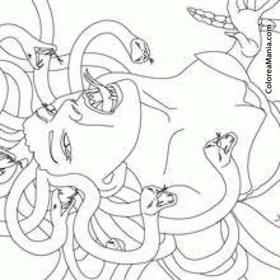 Colorear Medusa 2 (Mitología Griega), dibujo para colorear gratis