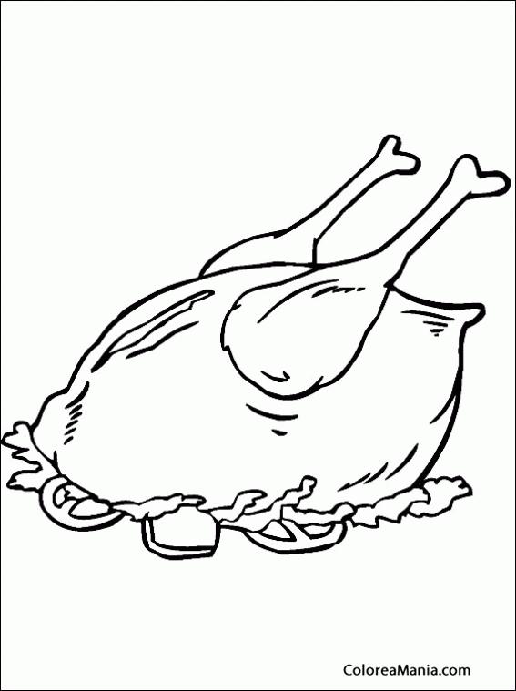 Colorear Pollo Con Guarnición Carnes Y Pescados Dibujo Para