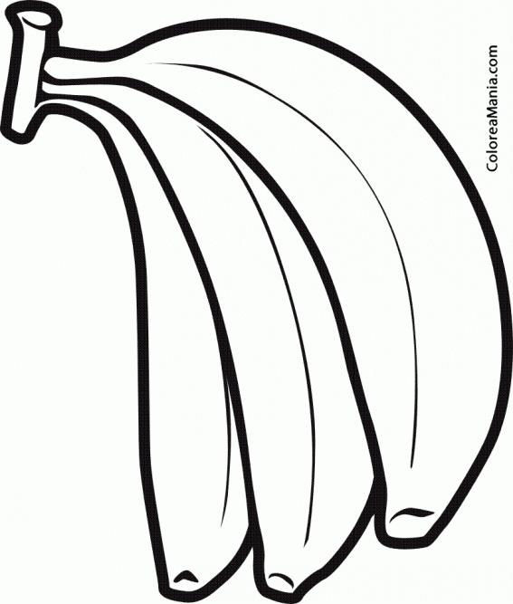 Colorear Tres Bananas Frutas Dibujo Para Colorear Gratis