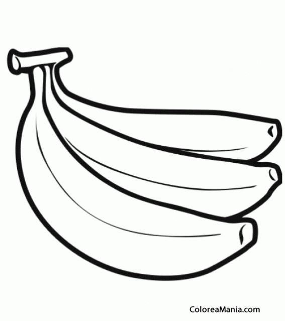 Colorear Tres plátanos (Frutas), dibujo para colorear gratis