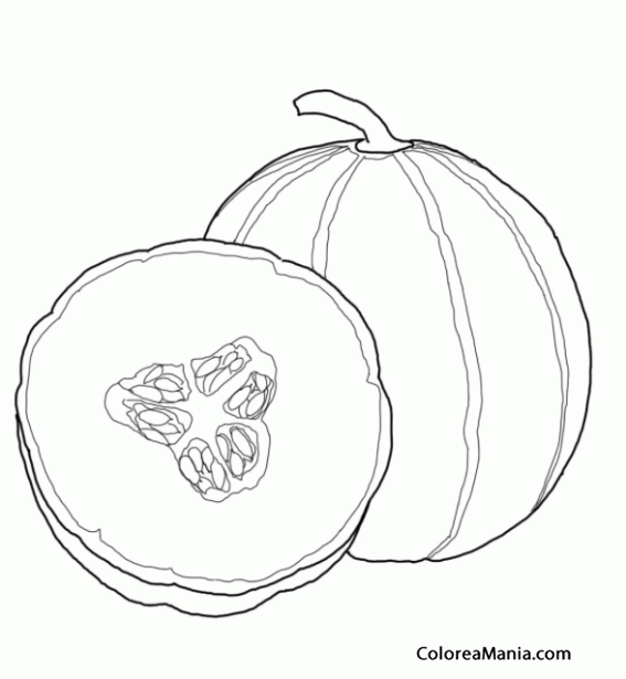 Colorear Melón Amarillo Frutas Dibujo Para Colorear Gratis