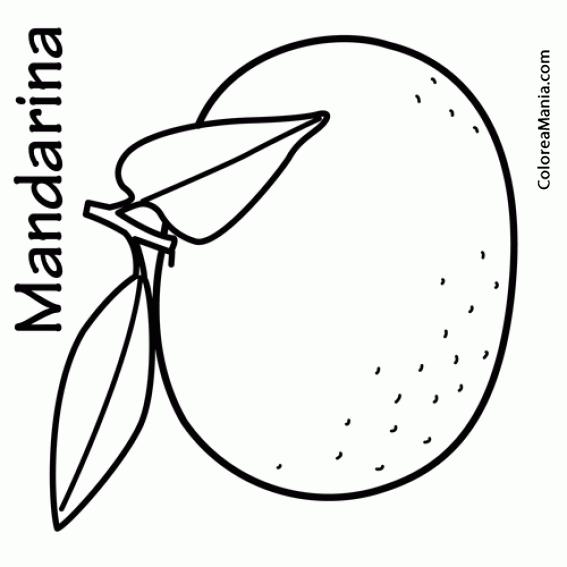 Colorear Mandarina (Frutas), dibujo para colorear gratis