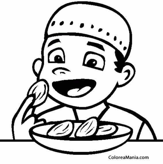 Colorear Niño Comiendo Dátiles Frutas Dibujo Para