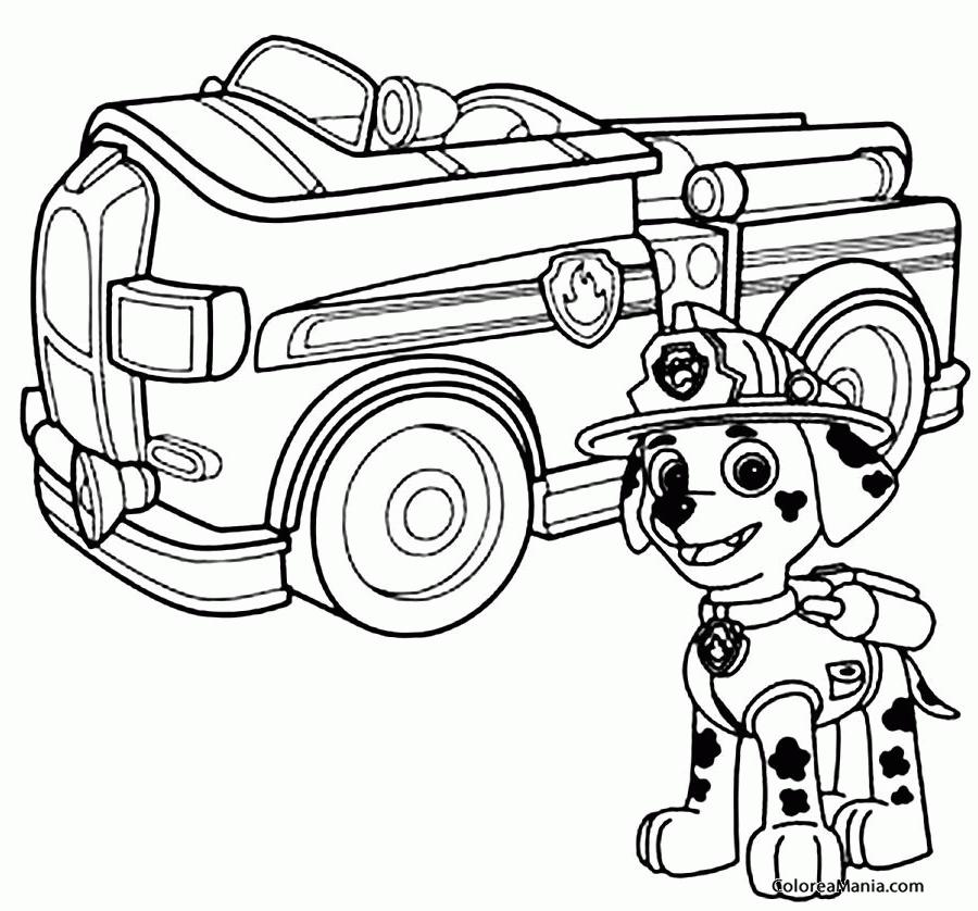 Colorear Marshall Con Su Camion Patrulla Canina Dibujo Para