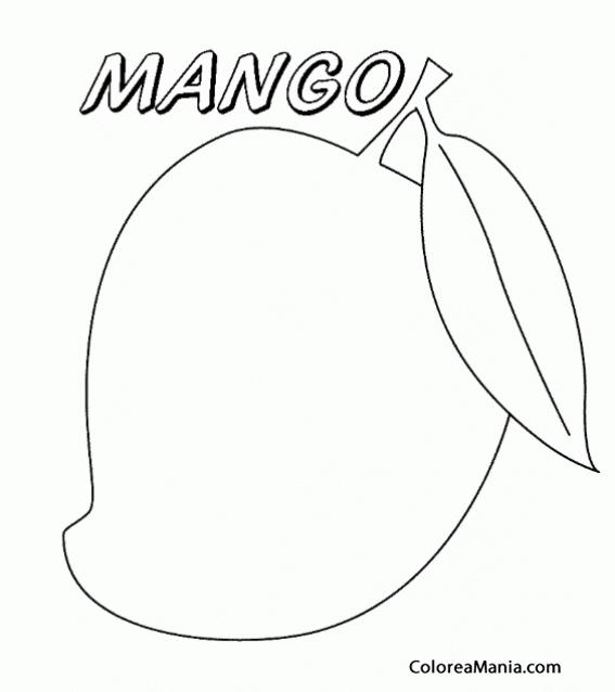Colorear Un Mango Con Una Hoja Frutas Dibujo Para Colorear Gratis