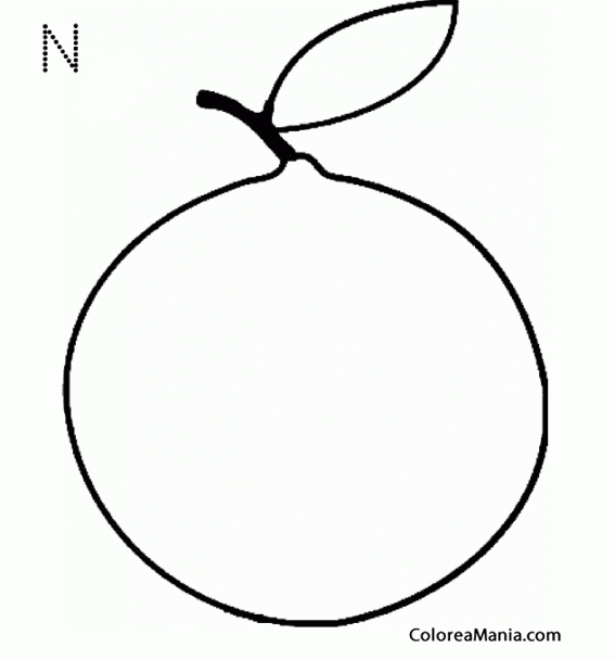 Colorear N de Naranja (Frutas), dibujo para colorear gratis