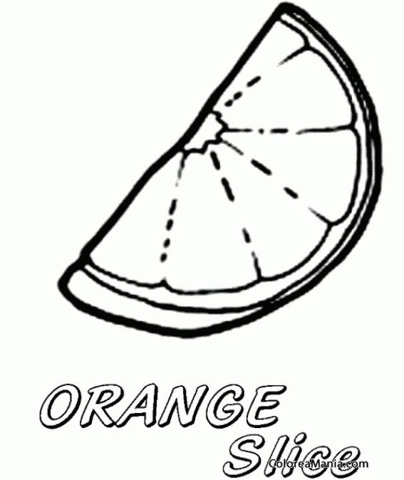 Colorear Rodaja de naranja Orange slice Frutas dibujo para