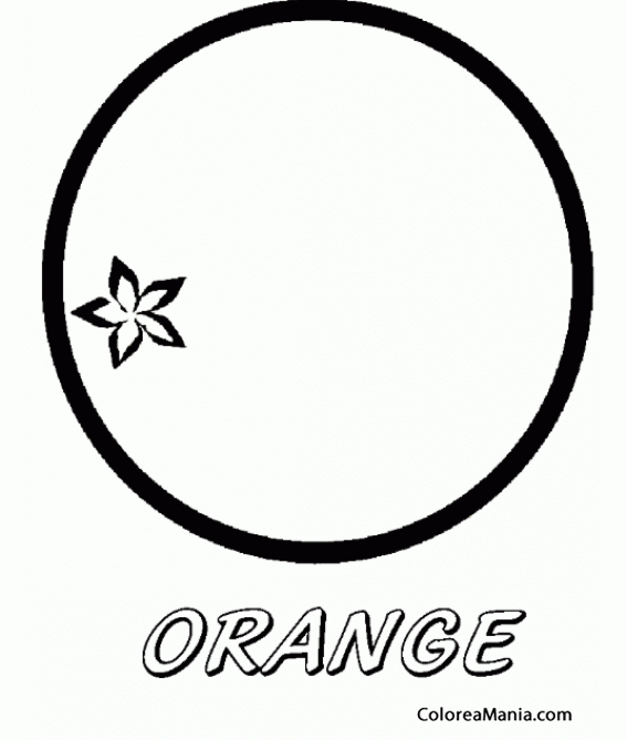 Colorear Naranja. Orange. Taronja (Frutas), dibujo para colorear gratis