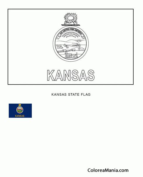 Colorear Kansas (estado de U.S.A.) (Banderas de paises), dibujo para ...