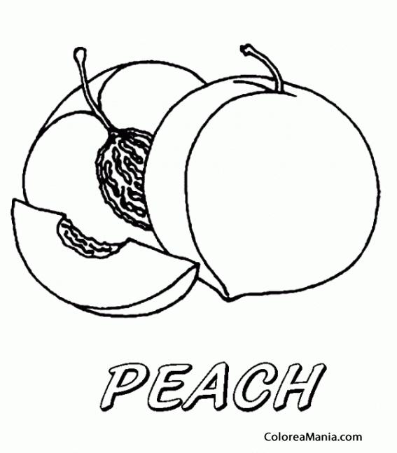 Colorear Melocotón. Pêche. Peach (Frutas), dibujo para ...