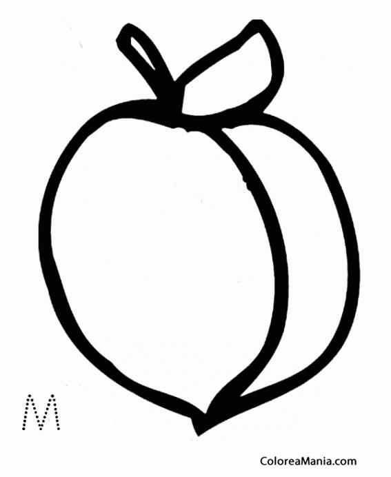 Colorear M De Melocotón Frutas Dibujo Para Colorear Gratis