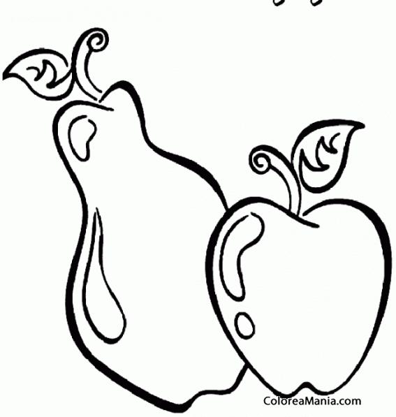 Colorear Pera y manzana (Frutas), dibujo para colorear gratis