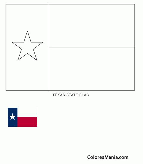 Colorear Texas (estado de U.S.A.) (Banderas de paises), dibujo para ...
