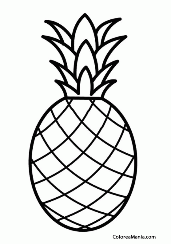 Colorear Piña. Ananás (Frutas), dibujo para colorear gratis