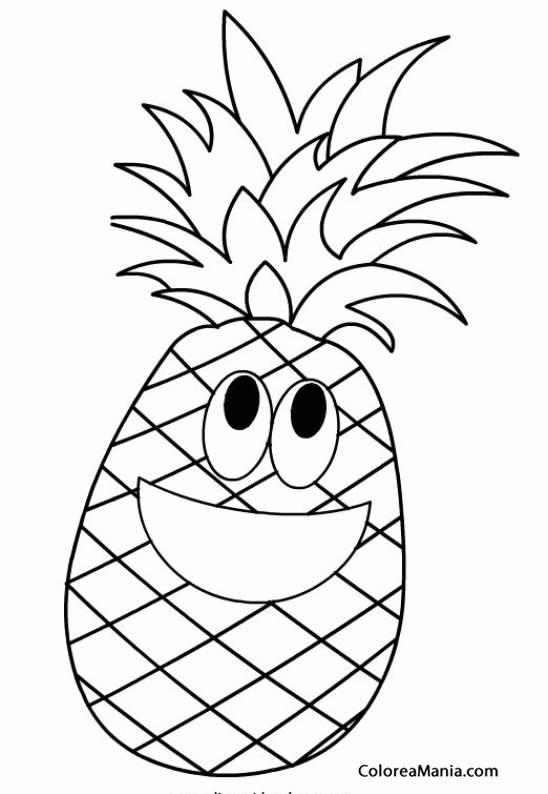 Colorear Piña Feliz Todo Sonrisa Frutas Dibujo Para Colorear Gratis