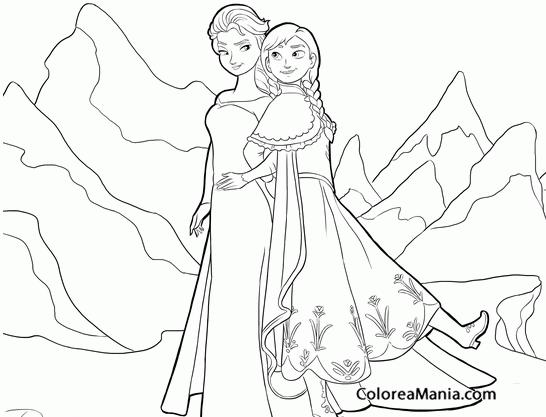Colorear Anna Y Elsa Frozen Dibujo Para Colorear Gratis