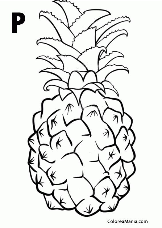 Colorear P De Piña Frutas Dibujo Para Colorear Gratis