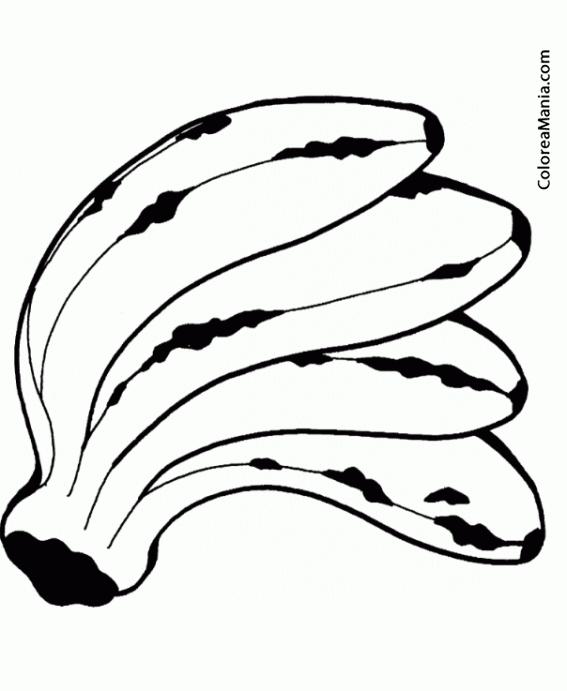 Colorear Cuatro Plátanos (Frutas), dibujo para colorear gratis
