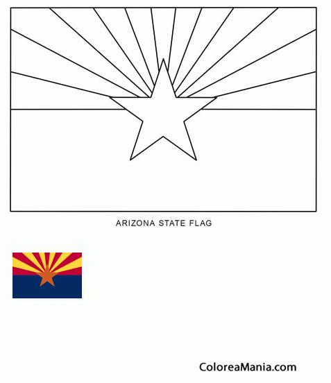 Moderno Página Para Colorear De Bandera De Estado De Arizona Imagen ...