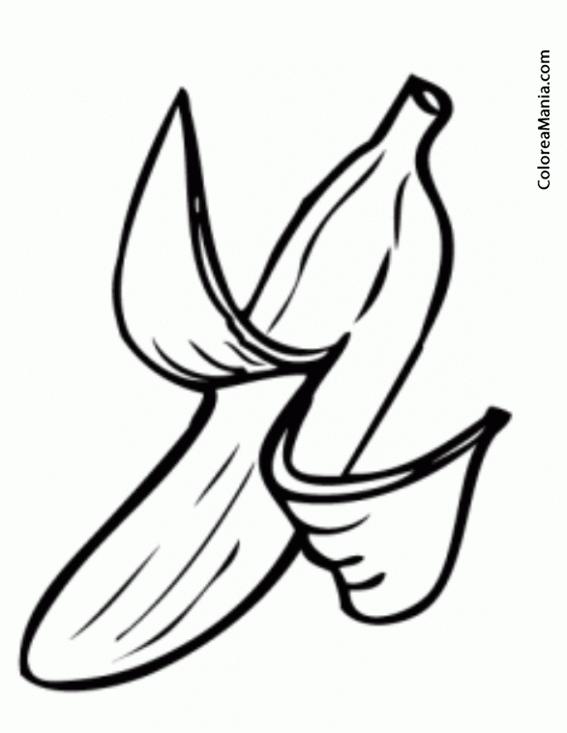 Colorear Plátano a medio pelar. Half-peeled banana 4 (Frutas ...