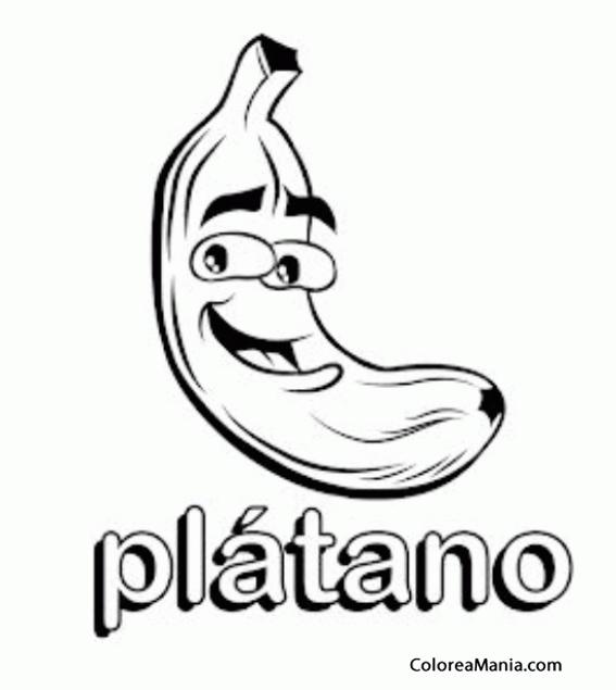 Colorear Plátano se escribe .. (Frutas), dibujo para colorear gratis