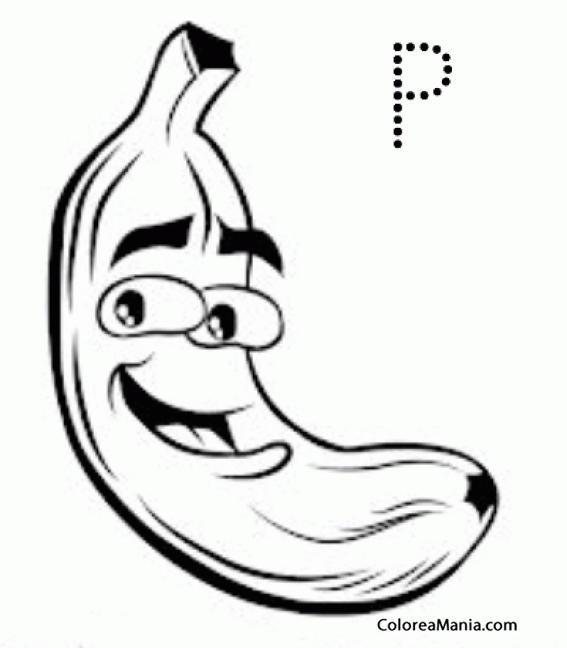 Colorear P de Plátano (Frutas), dibujo para colorear gratis