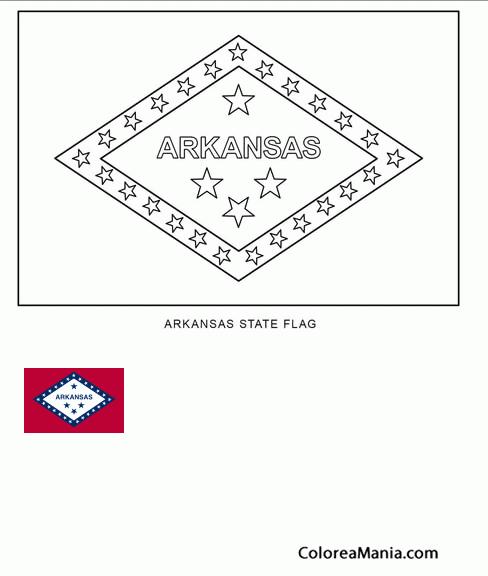 Colorear Arkansas (estado de U.S.A.) (Banderas de paises), dibujo ...