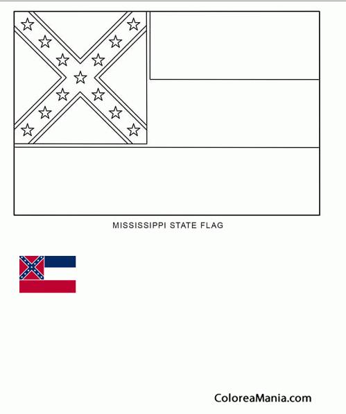 Colorear Misisipi (estado de U.S.A.) (Banderas de paises), dibujo ...