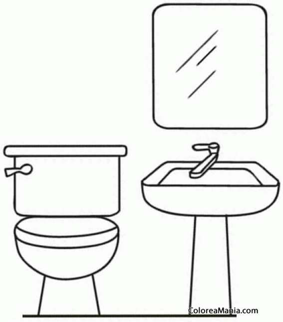 Colorear muebles del ba o el ba o dibujo para colorear for De que color se puede pintar un bano
