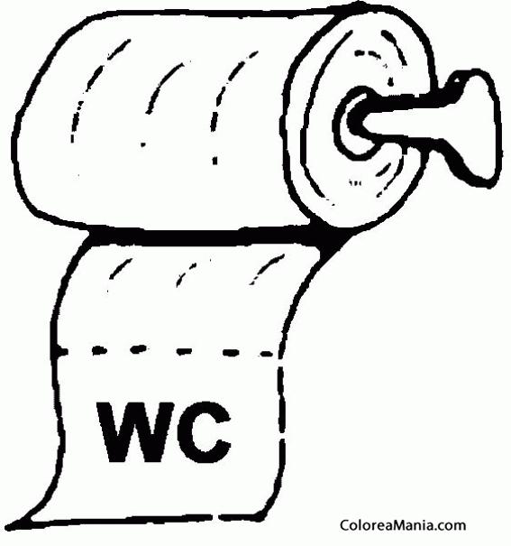 colorear papel higiénico (el baño), dibujo para colorear gratis - Imagenes De Un Bano Para Colorear