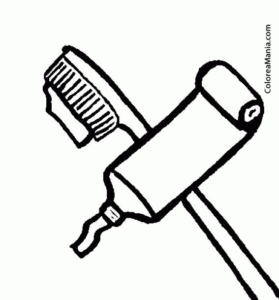 Colorear Cepillo y pasta de dientes (El baño), dibujo para colorear ...