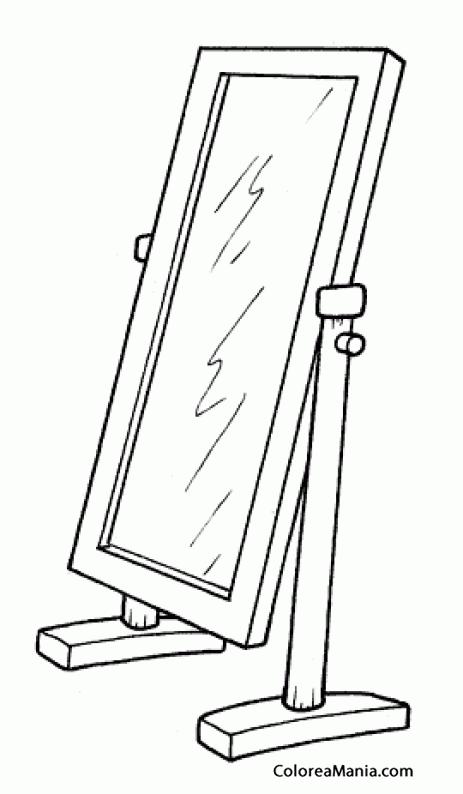 Colorear espejo 5 la habitacin dibujo para colorear gratis - Dibujos para espejos ...