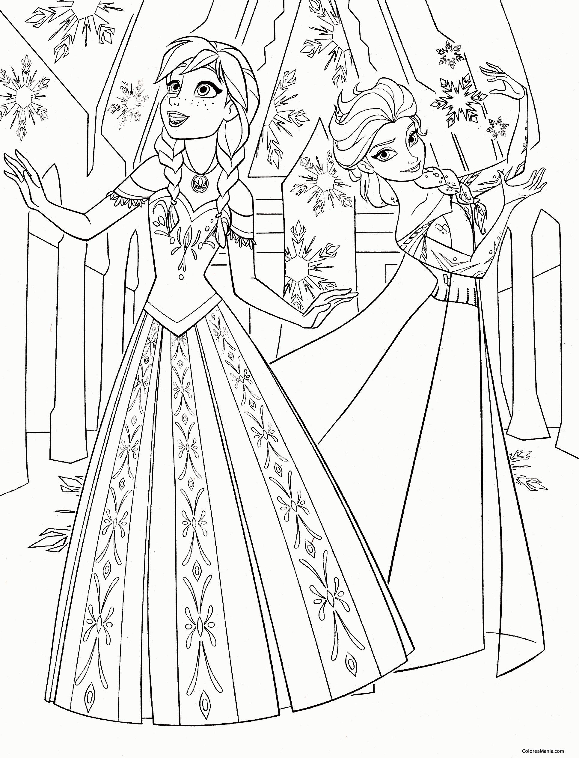 Colorear Anna Y Elsa Bailando Frozen Dibujo Para Colorear