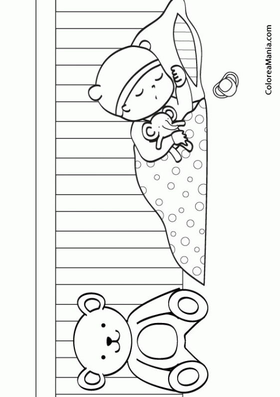Colorear Bebé En Su Cunita 2 La Habitación Dibujo Para