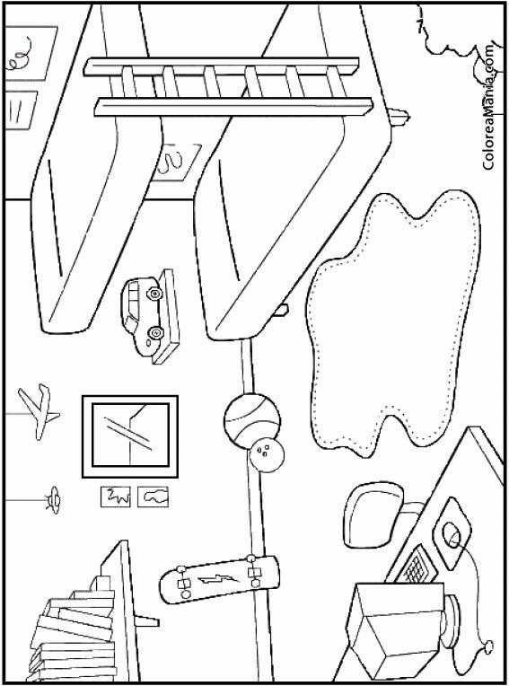 Colorear habitaci n ni os la habitaci n dibujo para for Habitacion dibujo