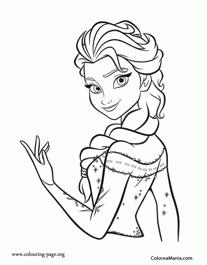 Colorear Elsa y su castillo Frozen dibujo para colorear gratis