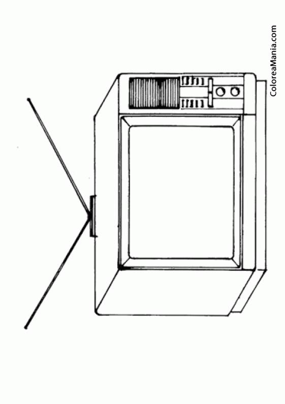 Colorear televisor antiguo el sal n dibujo para for Dibujar muebles