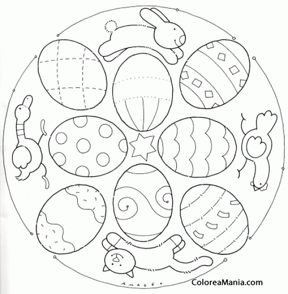 Colorear Mandalas Pascua, conejo, pollo, gato, pato (Mandalas ...