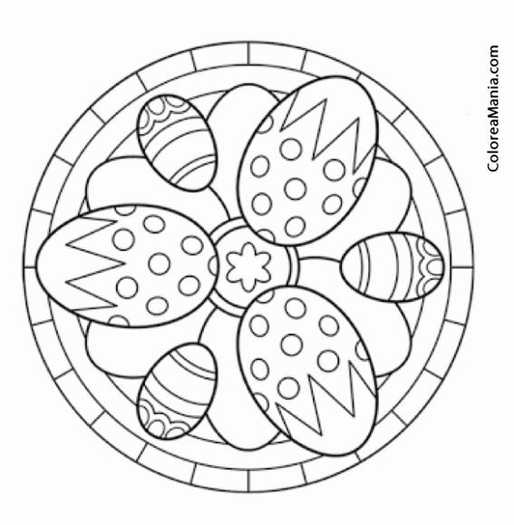 Colorear Mandalas Pascua, tres huevos (Mandalas), dibujo para ...