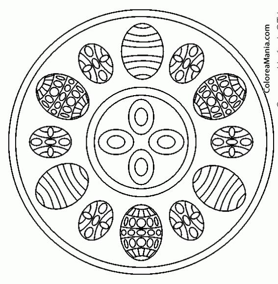 Colorear Mandalas Pascua, 5 huevos grandes 5 pequeños (Mandalas ...