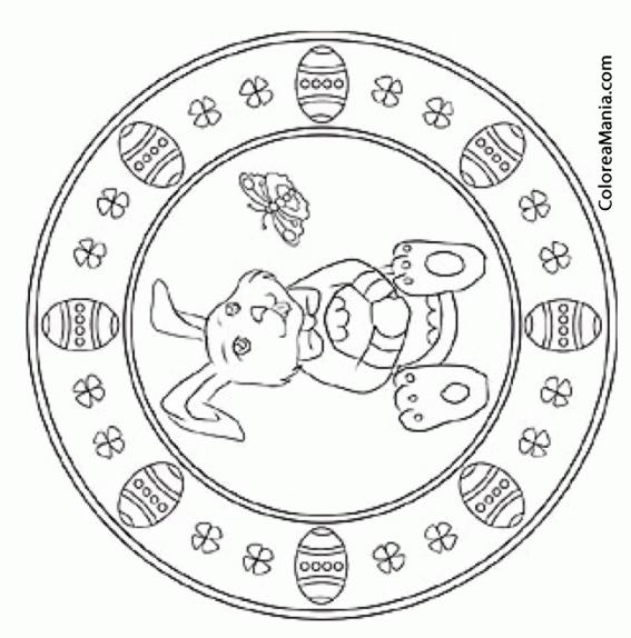 Colorear Mandalas Pascua, Un Conejo Sentado Con Un Huevo