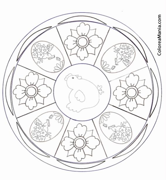 Colorear Mandalas Pascua 4 Huevos 4 Flores Mandalas Dibujo Para
