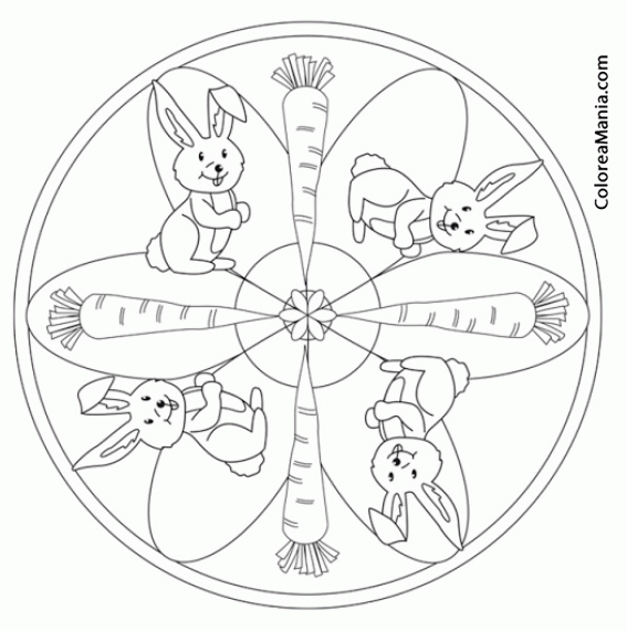 Colorear Mandalas Pascua, 4 Conejos 4 Zanahorias (Mandalas
