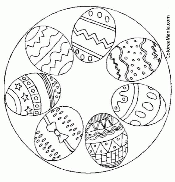 Colorear Mandalas Pascua, 6 huevos (Mandalas), dibujo para