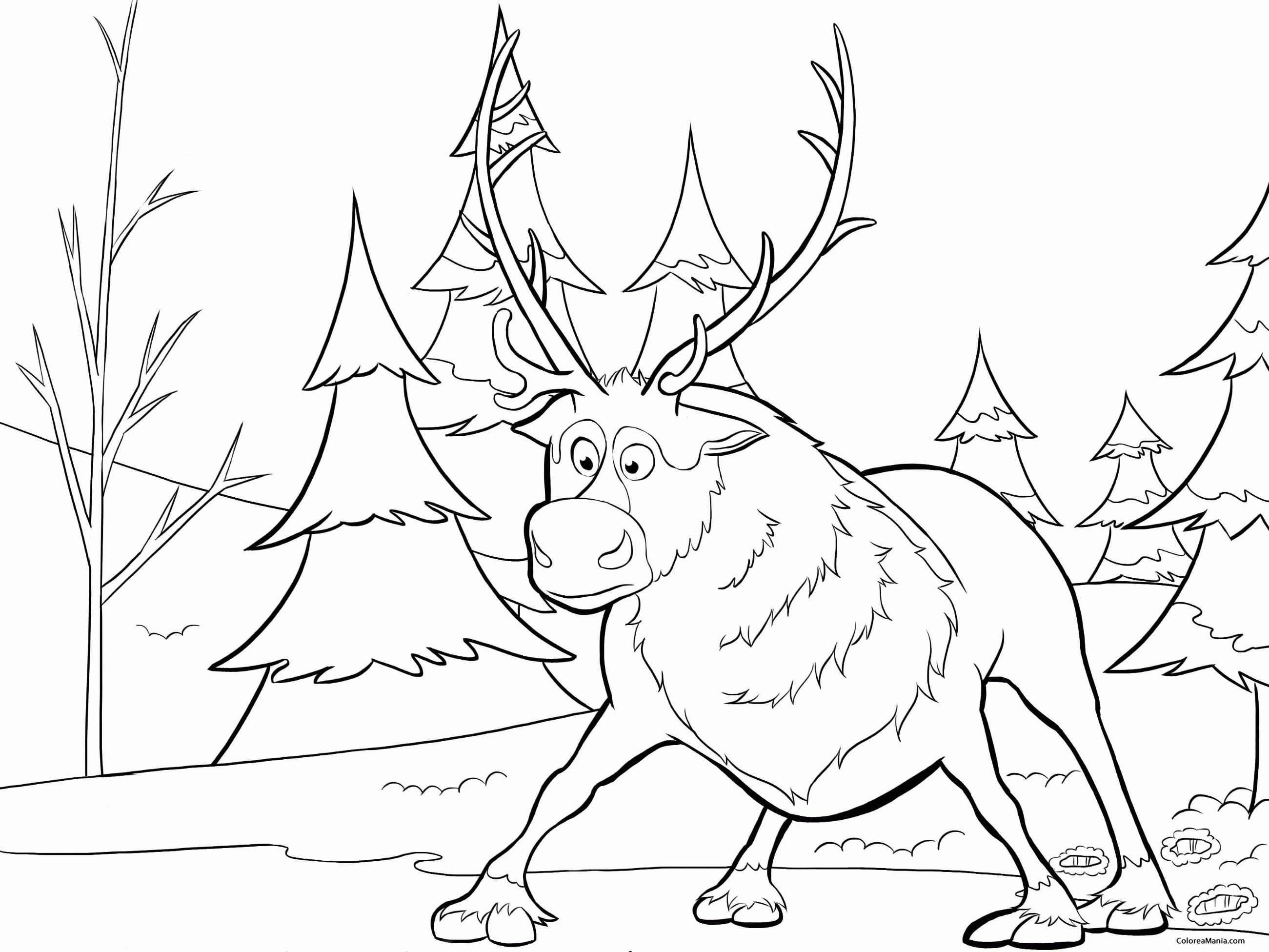 Colorear El reno (Frozen), dibujo para colorear gratis