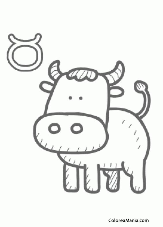 Colorear Tauro Taureau Taurus Toro 17 Símbolos Zodíaco